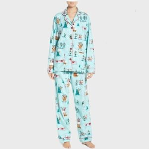 PJ Salvage Teal Flannel Elf's Holiday Pajama Set